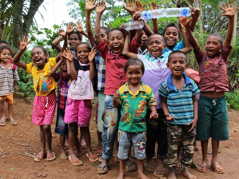 Sponsored children smiling in Timor Leste