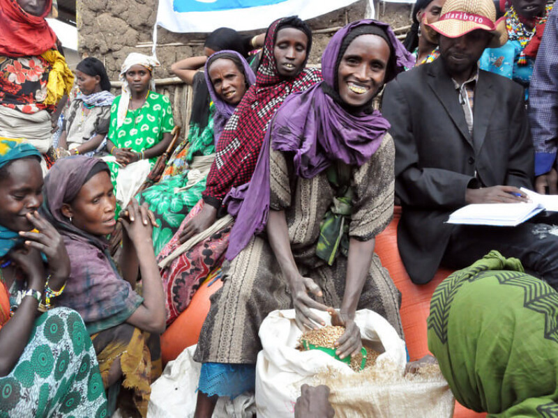 A woman receiving seeds from Plan International in Ethiopia