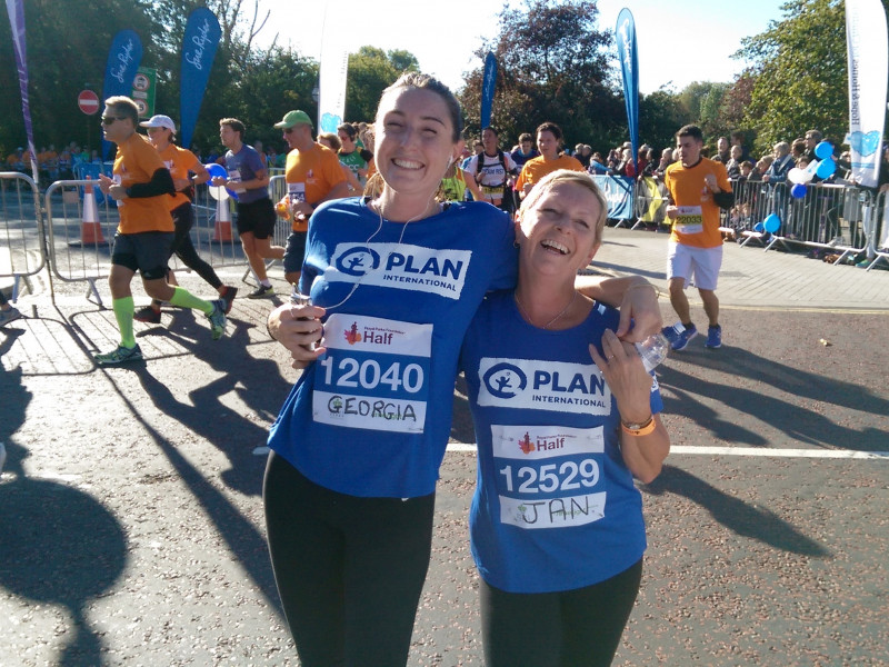Jan and Georgia for Plan at the Royal Parks Half Marathon