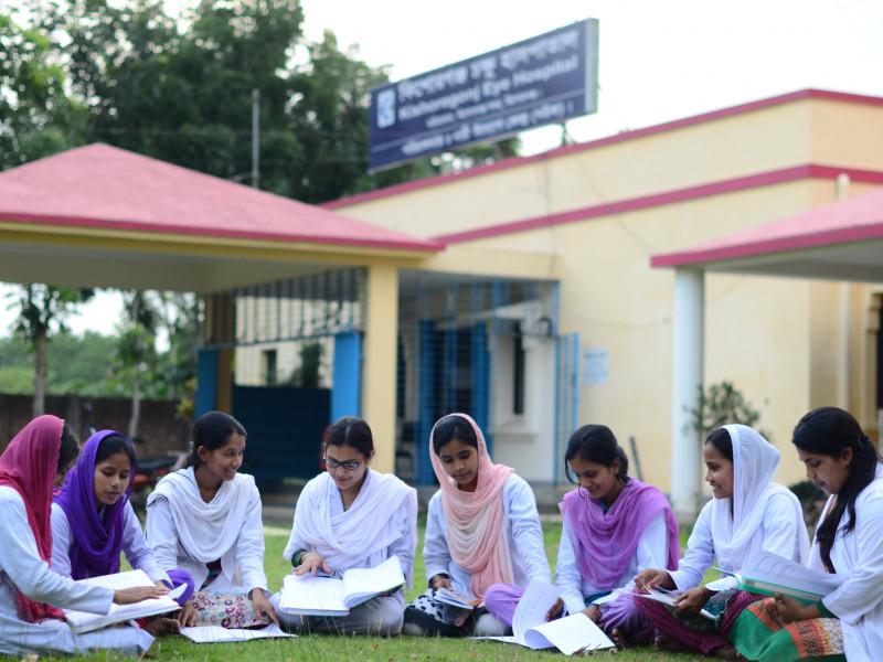 Girls outside medical centre