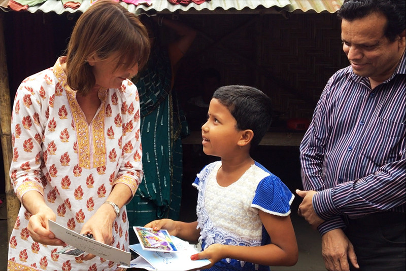 Chair Amanda Ellingworth meets a Plan International sponsored child in Bangladesh