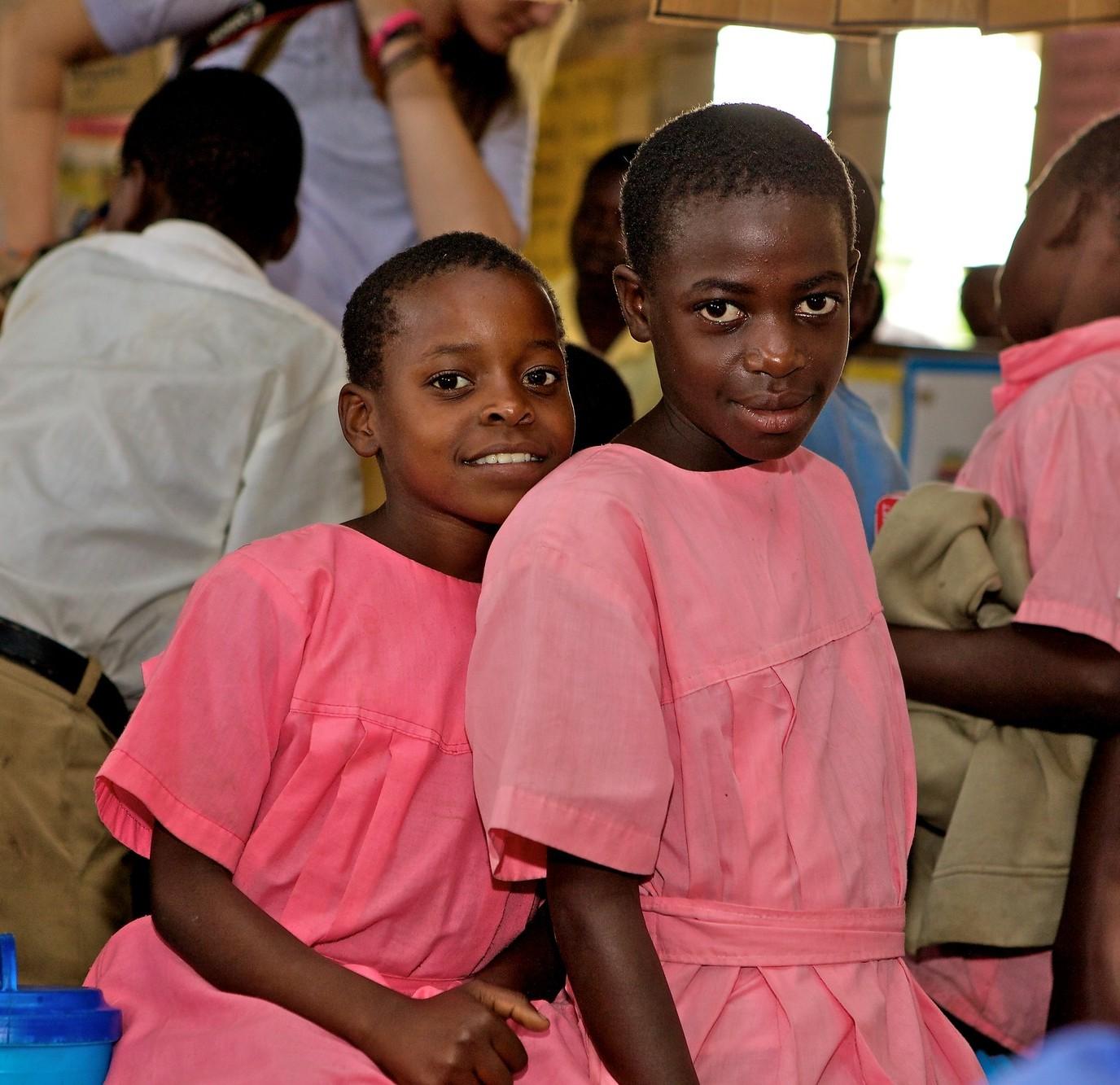 Girls in a classroom in Uganda