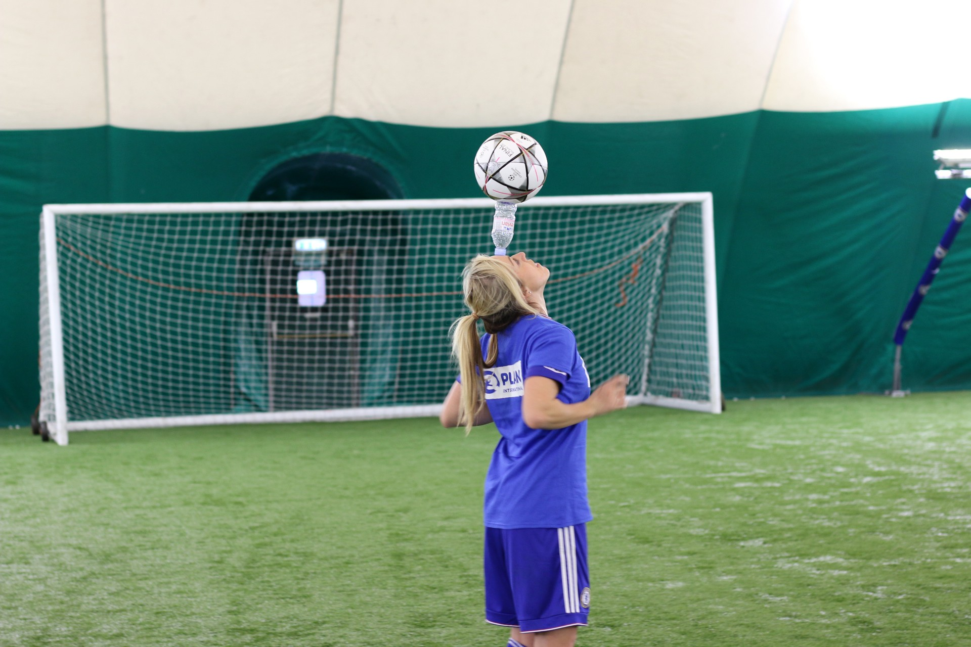 Gemma from Chelsea Ladies Team shows off her football skills