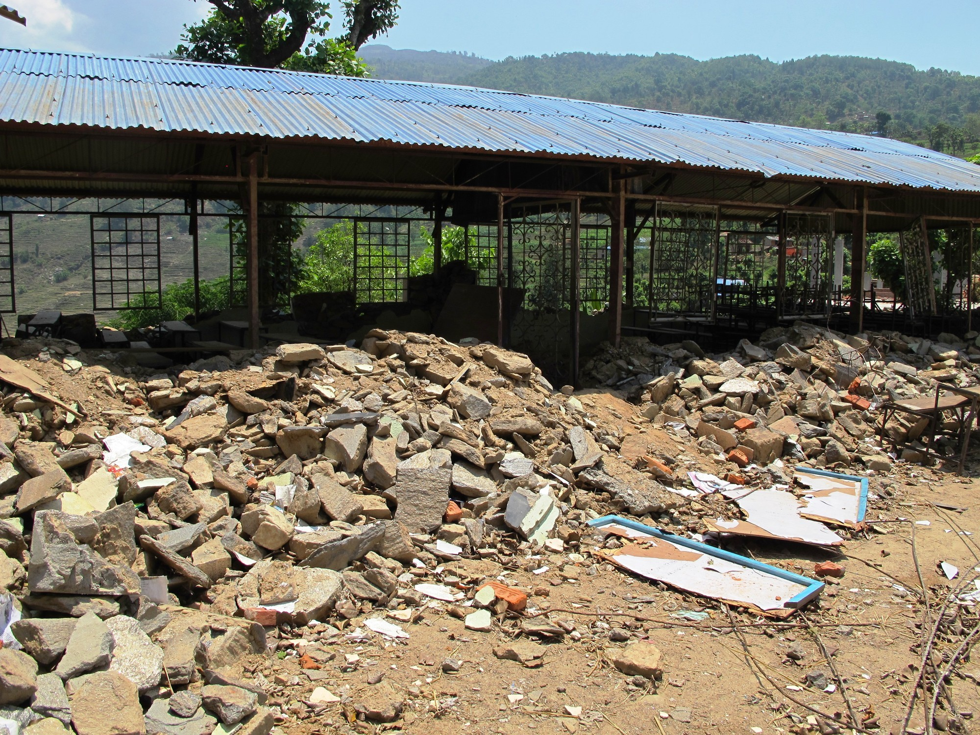 Destroyed school in Sindhupalchowk district, Nepal