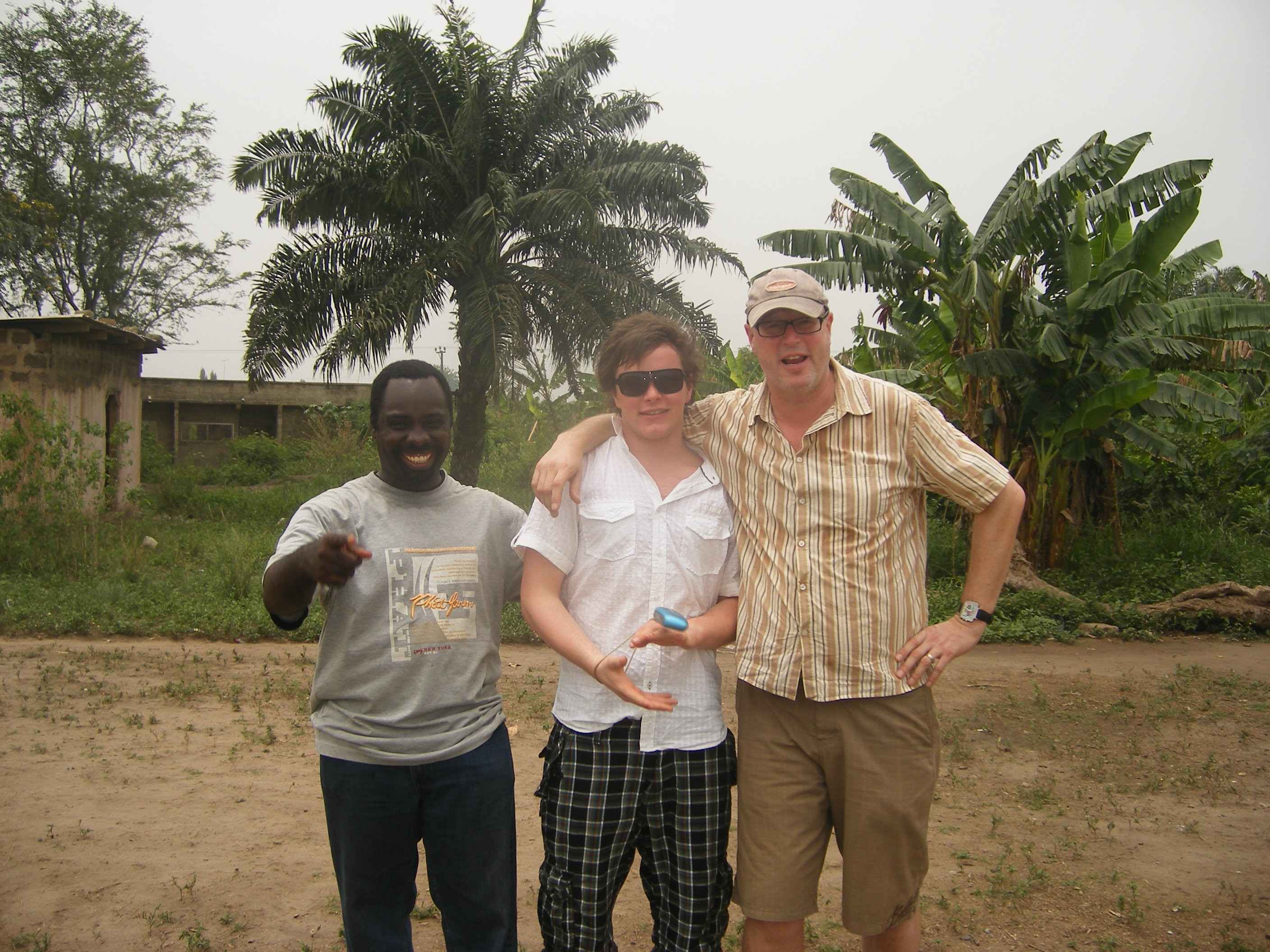 Chris and his son on their visit to Ghana in 2010