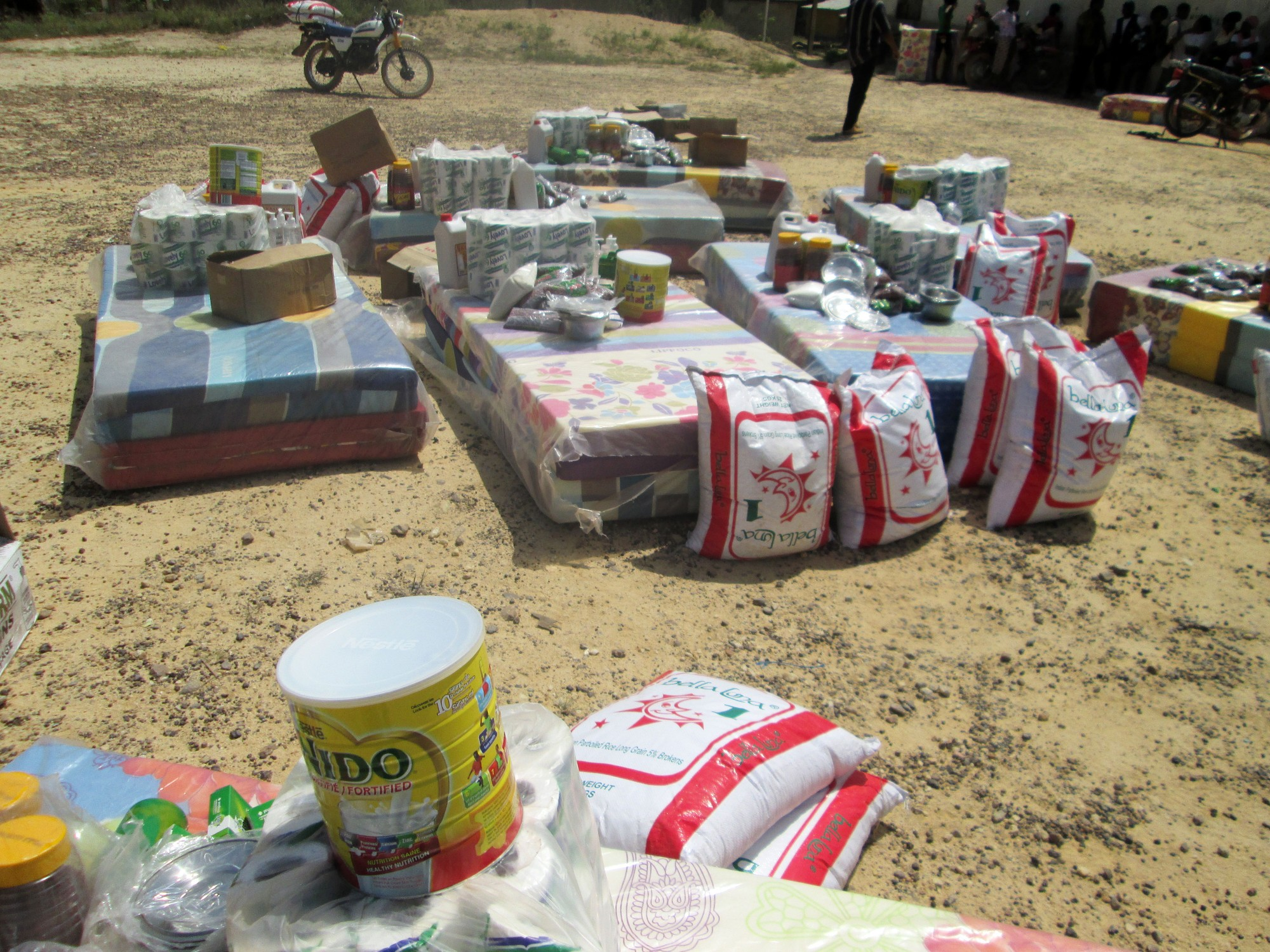 Relief aid ready for distribution