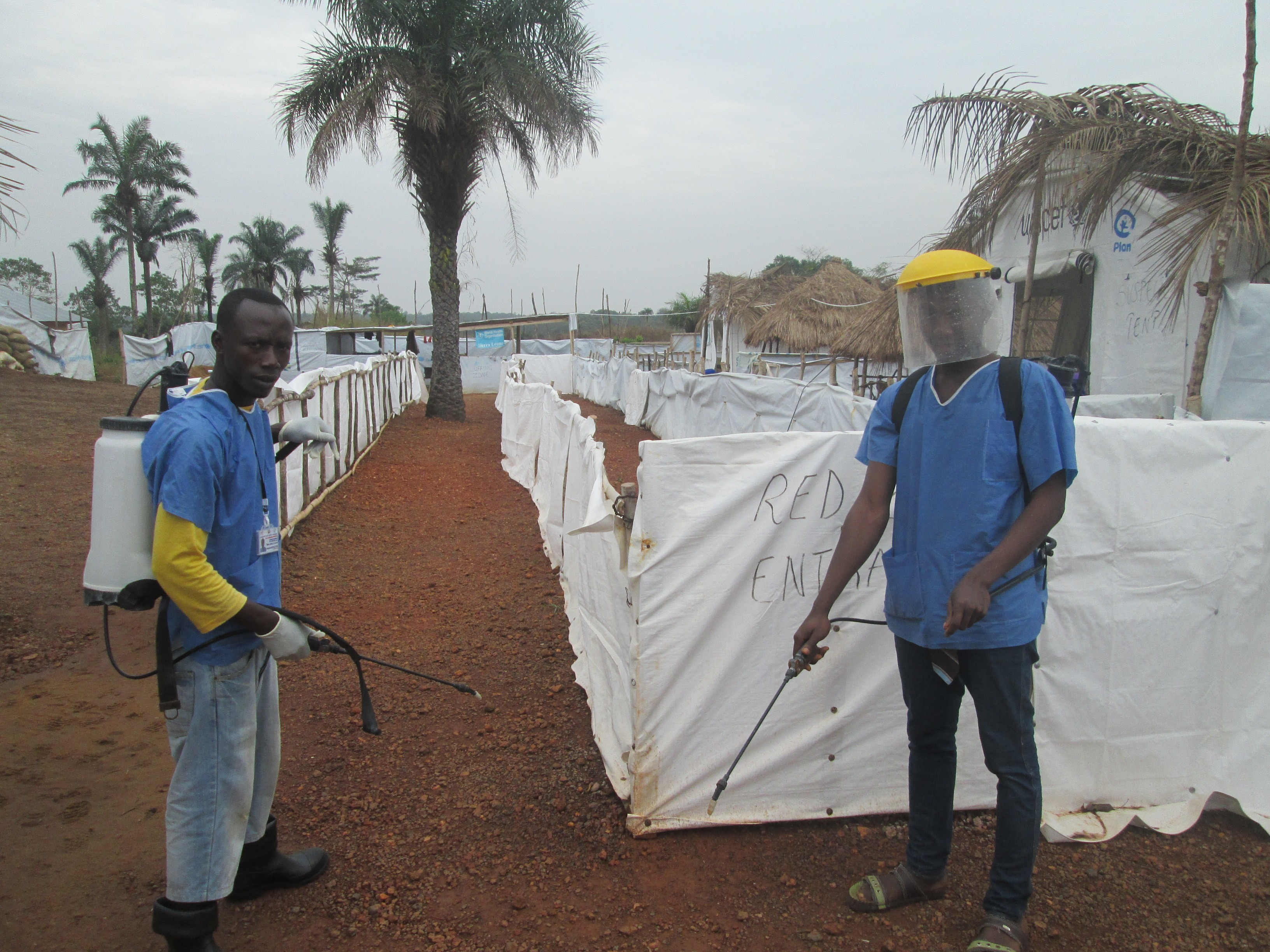 Spraying team at community care centre
