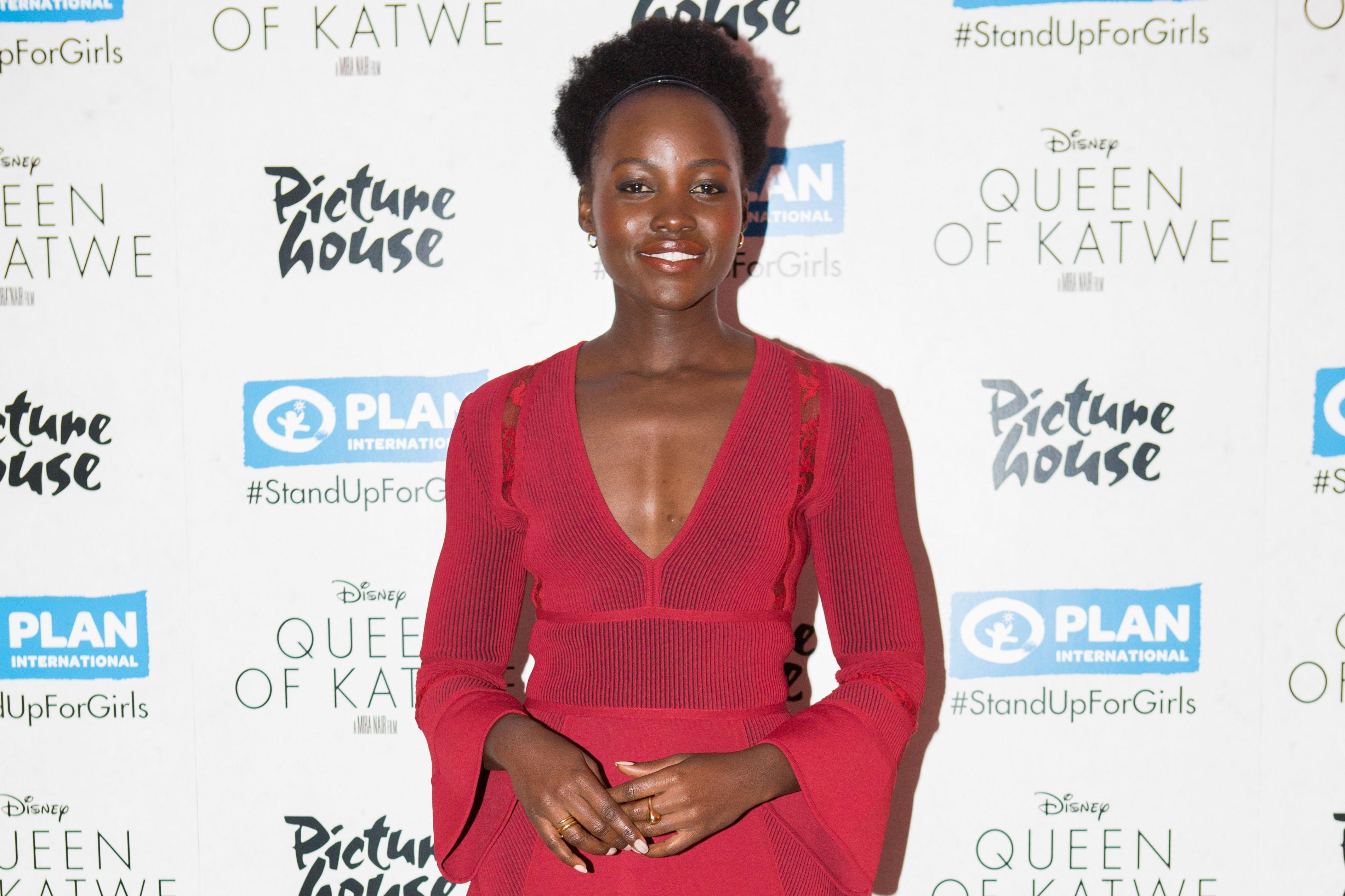Lupita Nyongo arriving at the Plan International UK screening of the Queen of Katwe