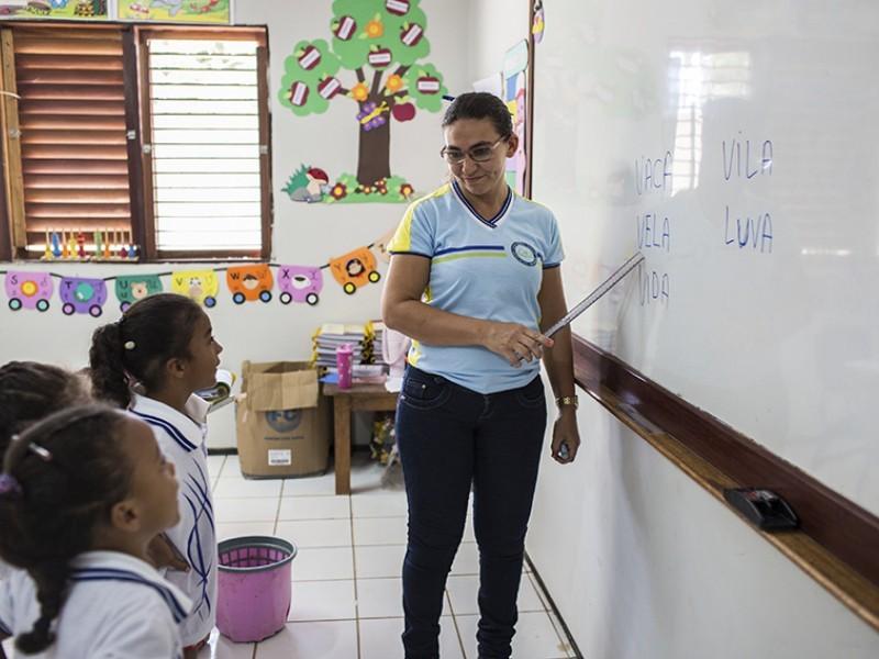 Children study in a classroom in Brazil