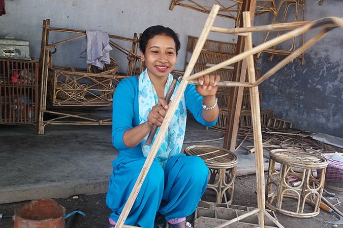Jayanti, making furniture in Nepal
