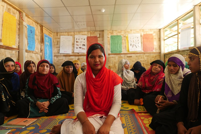 Rake, 20, is a teacher in the camps in Cox's Bazar