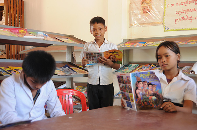 Metrey and his friends use the library at their school