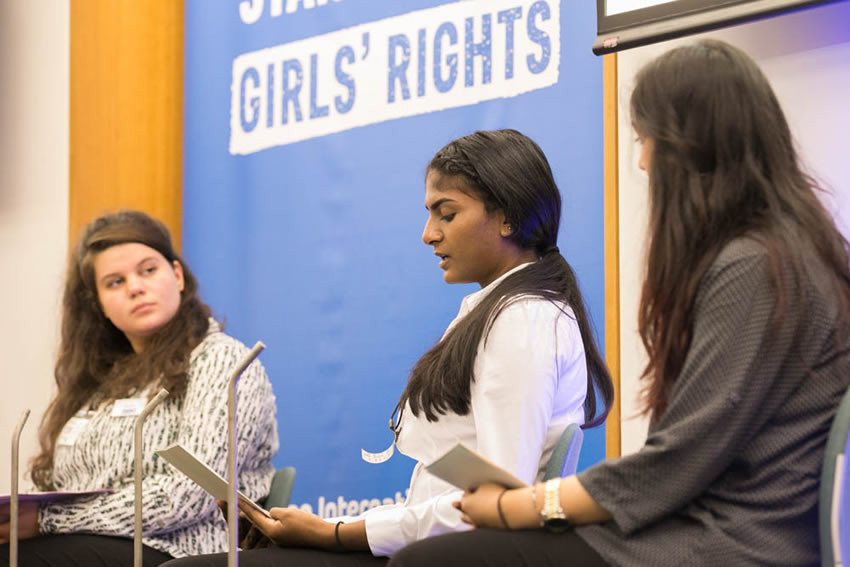 YAP members Georgie, Jessica and Kinza launch 'The State of Girls Rights in the UK' report in Parliament