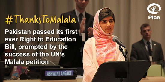 Malala has helped children to go to school in Pakistan