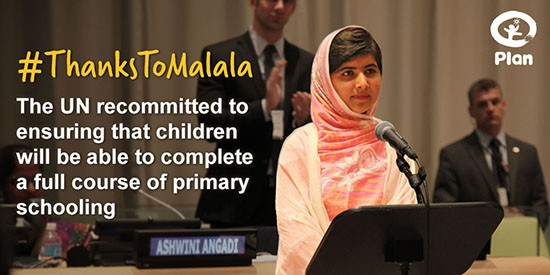 Malala pushed the UN to recommitt to child schooling