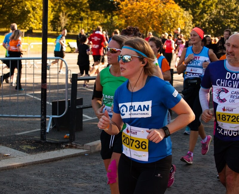Britta running the Royal Parks Half for Team Plan