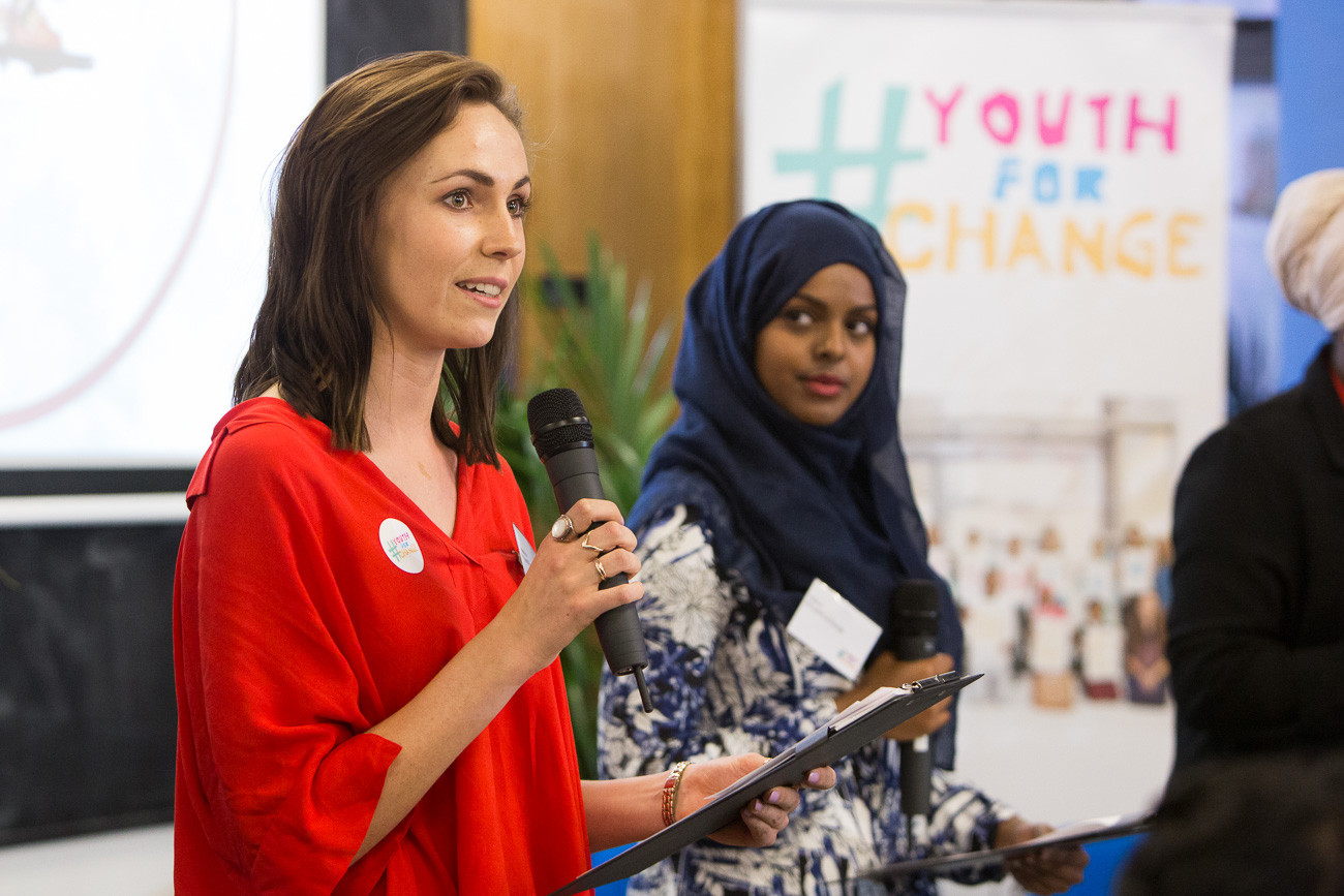 Eleanor Gall presents at the launch of Youth for Change