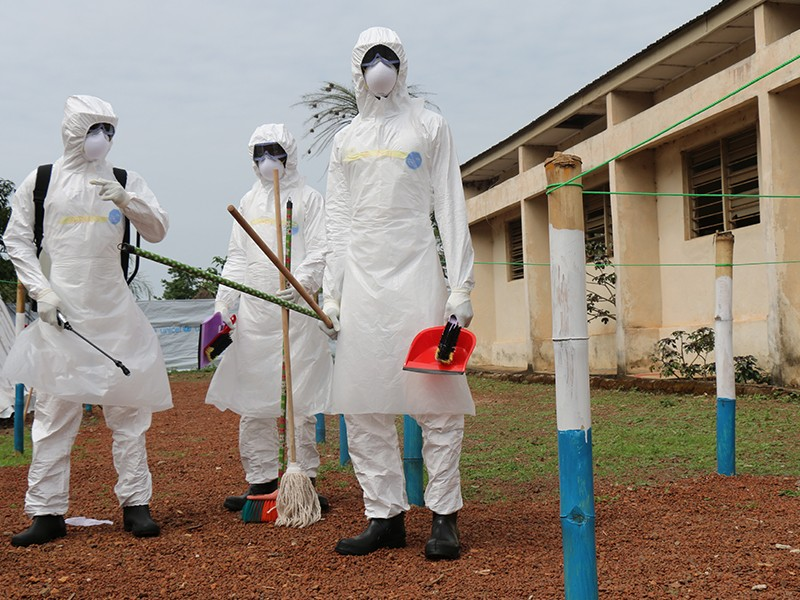 Ebola health workers clean up Sierra Leone