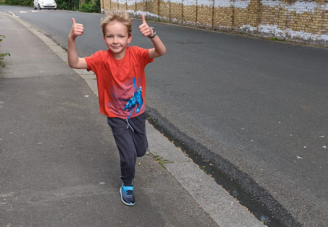 Hector runs 2K everyday to raise money for Plan International UK