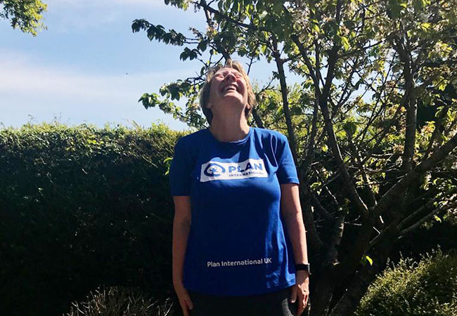Mia runs a marathon from home to raise money for Plan International UK