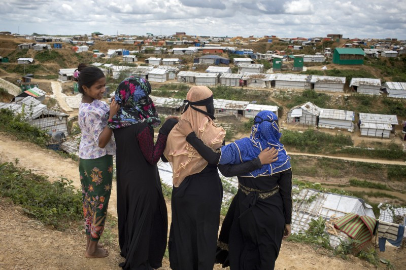 Adolescent Rohingya girls in refugee camp, Bangladesh