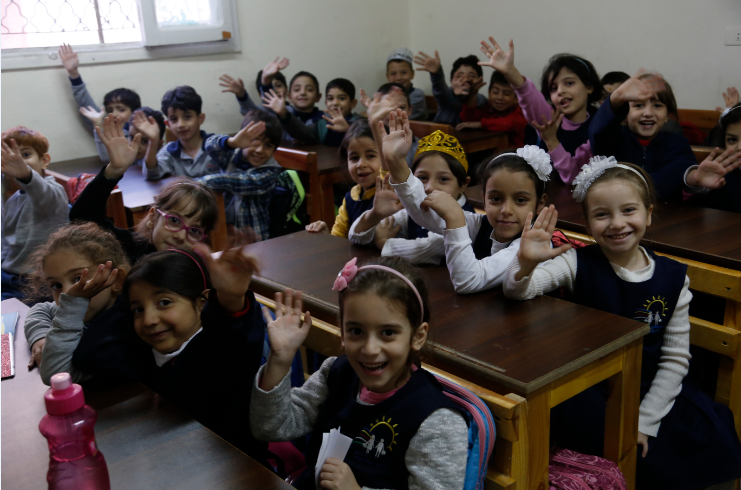Syrian refugee children in class at school