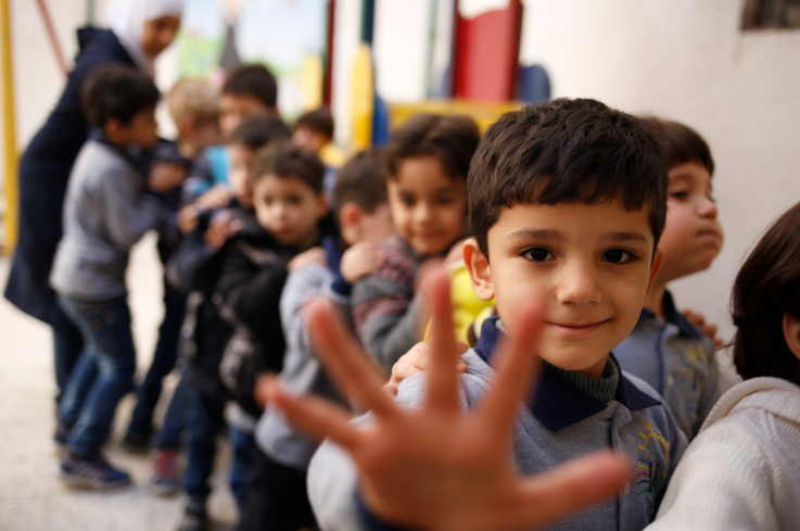 Syrian refugee children play at school in Egypt