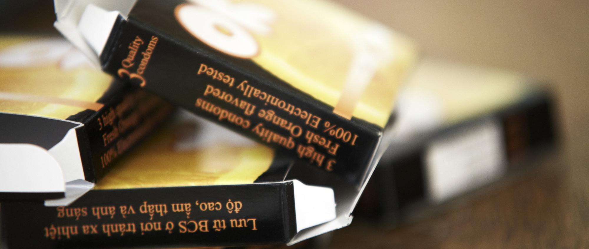Box of condoms distributed in Vietnam
