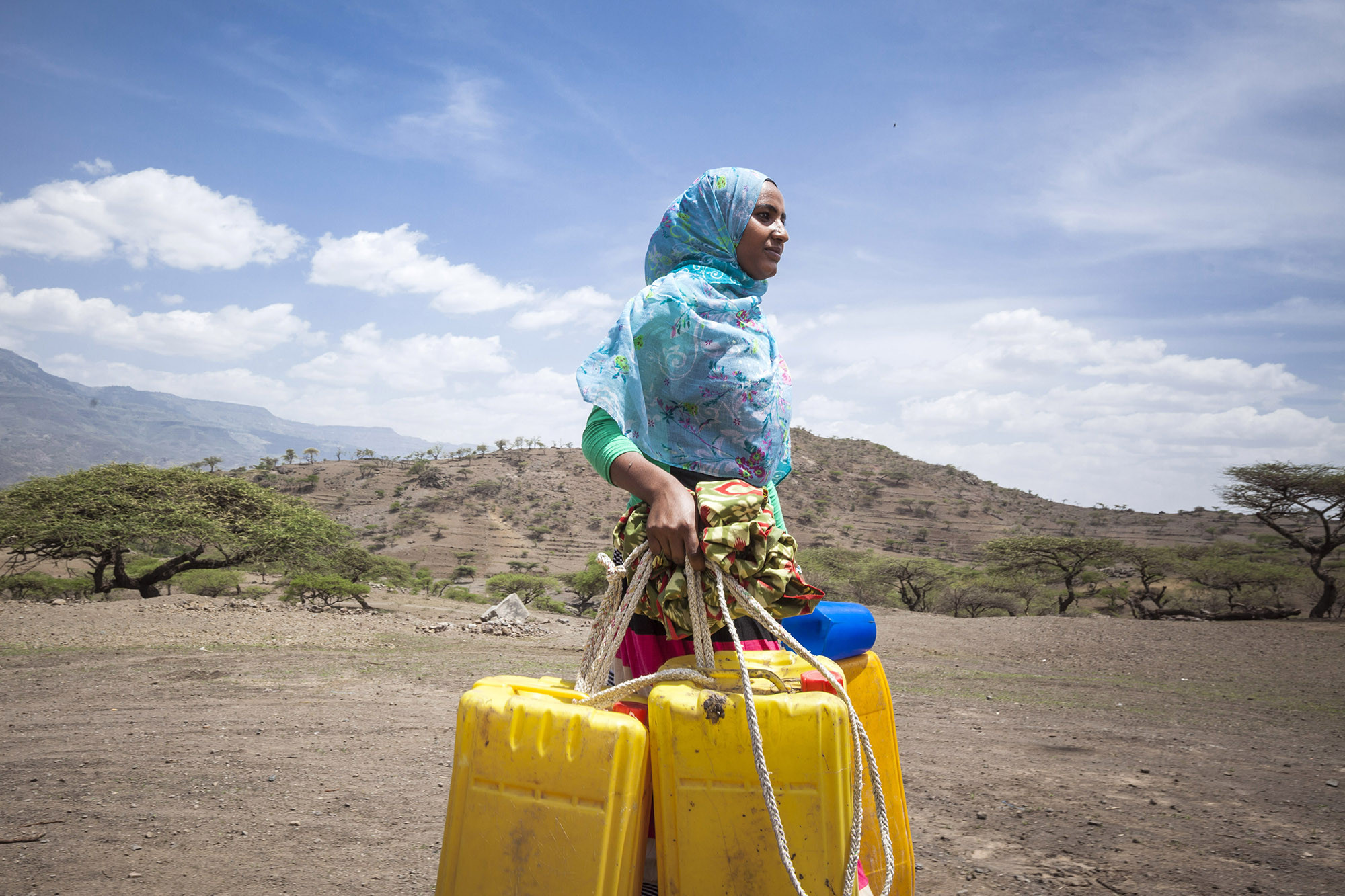 Up until last year, Kadija, 19 from Lalibela Ethiopia, would walk for hours to fetch clean water due. A situation worsened by El Nino.
