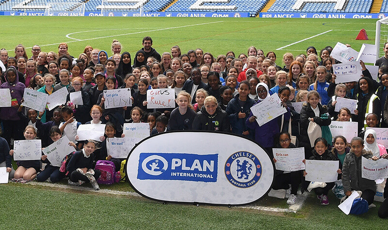 Katie Chapman and girls at Stamford Bridge stadium