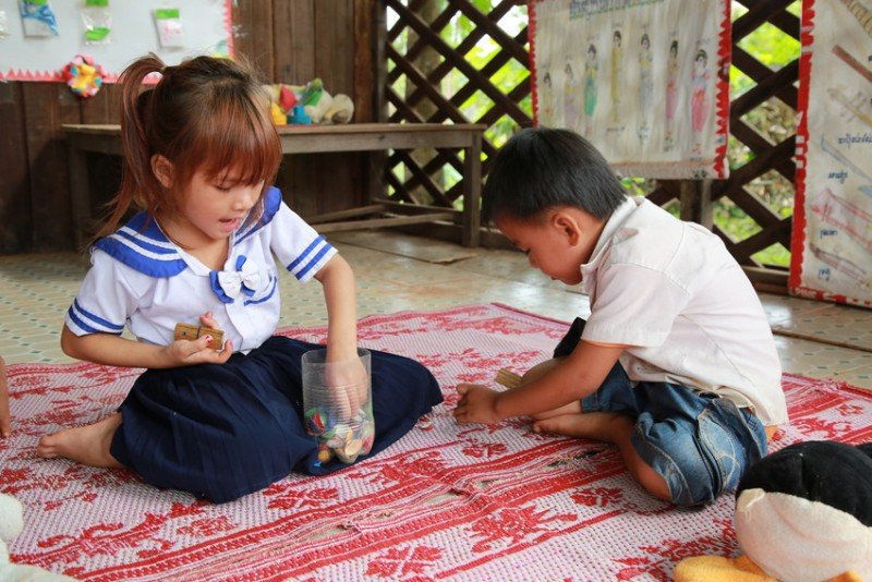 Children playing at pre-school in Cambodia