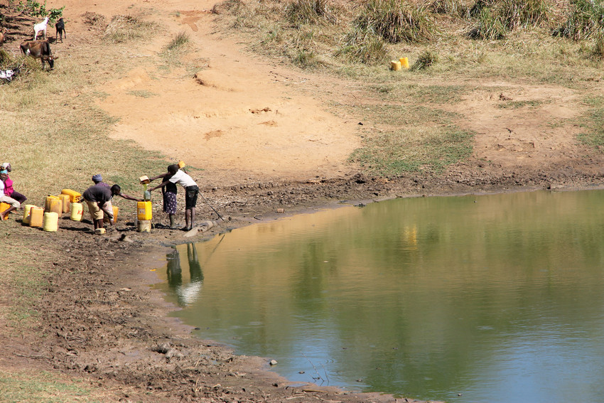 community collects dirty water from muddy source