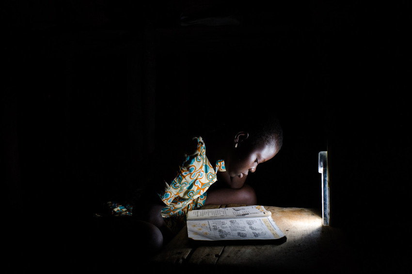 girl studying at night