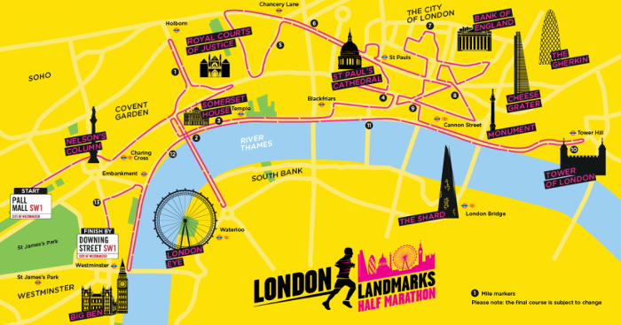 A map of the London Landmarks Half Marathon route