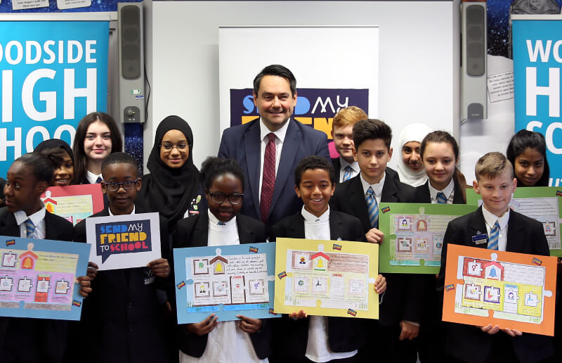 Students in North London with IDC Chair Stephen Twigg MP at the launch of the education inquiry report